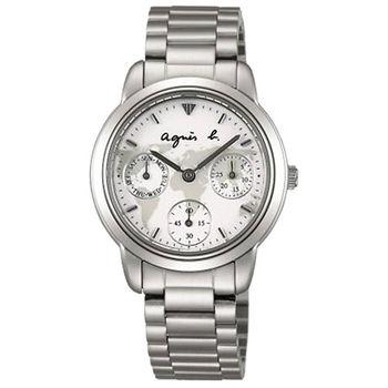《agnes b.》經典世界地圖 時尚三眼計時女錶-銀X白/32mm(VD75-KP90H/BP6012X1)