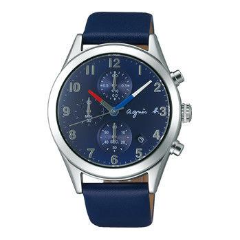 【agnes b.】法國旗元素 經典三眼計時皮帶錶-藍(VD57-KT20U/BM3009X1)
