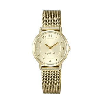 【agnes b.】簡約優雅手繪字體女腕錶-金 (VC10-K680I/BJ5008X1)