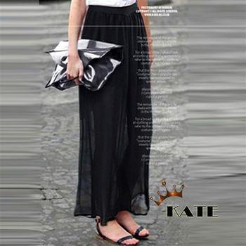 【KATE】雪紡透膚寬褲K248(飄逸黑4XL)