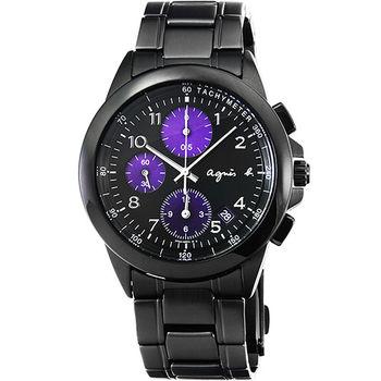agnes b. 小B魅力炫黑三眼計時腕錶-炫紫 / BF8317P1