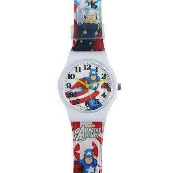 【漫威】MARVEL 美國隊長塑膠錶帶兒童錶卡通錶(白)
