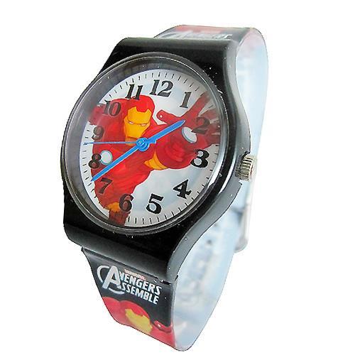 【漫威】MARVEL 鋼鐵人塑膠錶帶兒童錶卡通錶(黑)