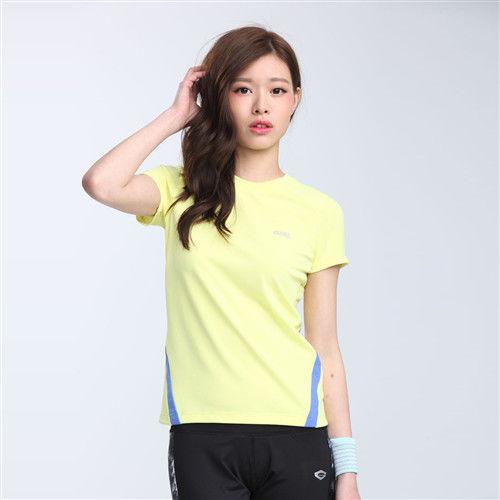 【TOP GIRL】簡約線條剪接圓領吸排T恤-黃