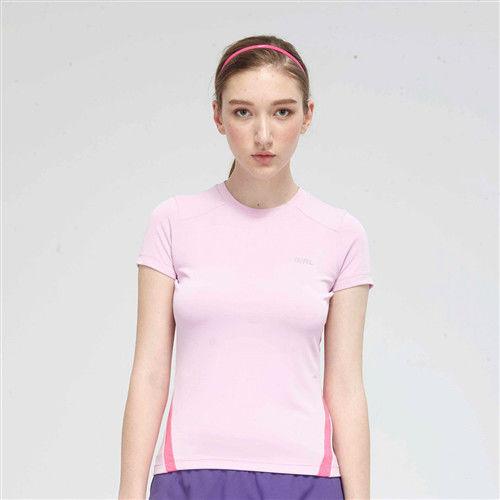 【TOP GIRL】簡約線條剪接圓領吸排T恤-粉