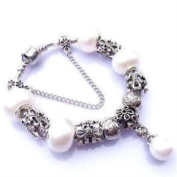 【米蘭精品】925純銀手鍊潘朵拉元素珍珠飾品高貴氣質名媛風73bo105