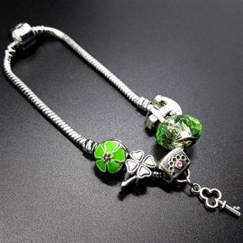 【米蘭精品】925純銀手鍊潘朵拉元素水晶飾品清新綠色系列73bo88