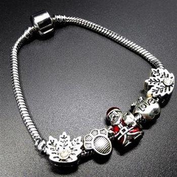 【米蘭精品】925純銀手鍊潘朵拉元素可愛聖誕老人歐美73bo87