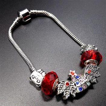 【米蘭精品】925純銀手鍊潘朵拉元素水晶飾品鑲鑽聖誕樹73bo84
