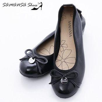 莎曼莎手工鞋【MIT全真皮】層次拼接蝴蝶結釦飾娃娃鞋-#14103 經典黑