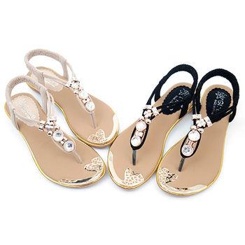 【 cher美鞋】甜美典雅水鑽珠涼鞋♥黑色/米色♥322-03