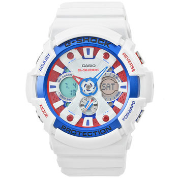 CASIO 卡西歐G-SHOCK 抗磁雙顯重機鬧鈴電子錶-藍白 / GA-201TR-7A