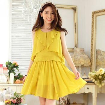 【KVOLL中大尺碼】黃色坎肩雪紡無袖連衣裙