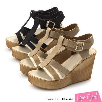☆Love Girl☆悠活美學雙線T字環踝楔型涼鞋