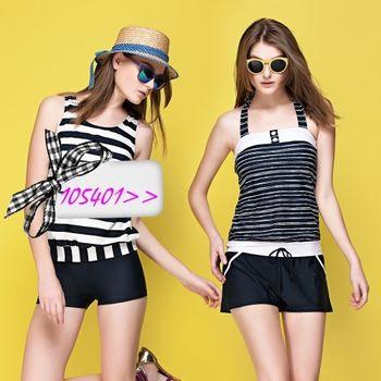 【蘋果牌】經典條紋款式時尚兩件式連身褲泳裝NO.105401(現貨+預購)