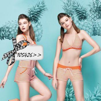 【蘋果牌】亮彩條紋款式時尚三件式比基尼泳裝NO.105426(現貨+預購)