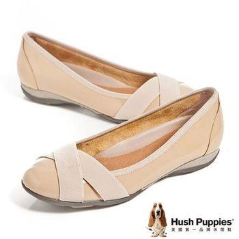 Hush Puppies 真皮亮面交叉帶造型舒適平底女鞋-杏