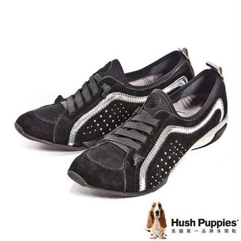 Hush Puppies 運動風彈力休閒鞋-黑