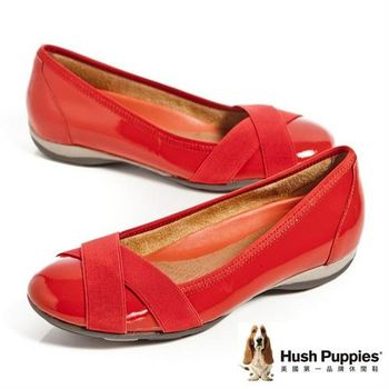 Hush Puppies 真皮亮面交叉帶造型舒適平底女鞋-橘紅