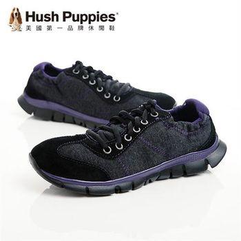 Hush Puppies 真皮率性潮流戶外休閒女鞋-黑