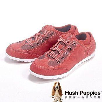 Hush Puppies 綁帶素面戶外休閒鞋女鞋-橘