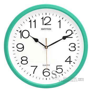 【RHYTHM日本麗聲】現代極簡風超靜音掛鐘(青草綠)