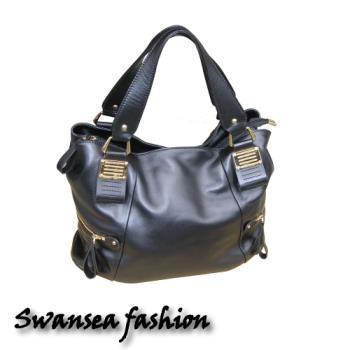 swansea奢華頂級羊皮包-黑