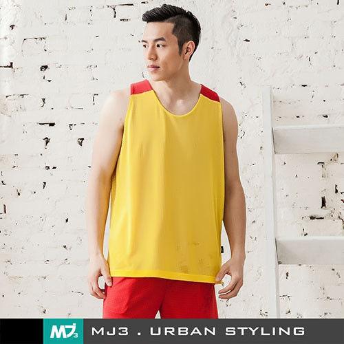 【MJ3】方格網布雙面穿吸排籃球背心-男(黃/亮紅)