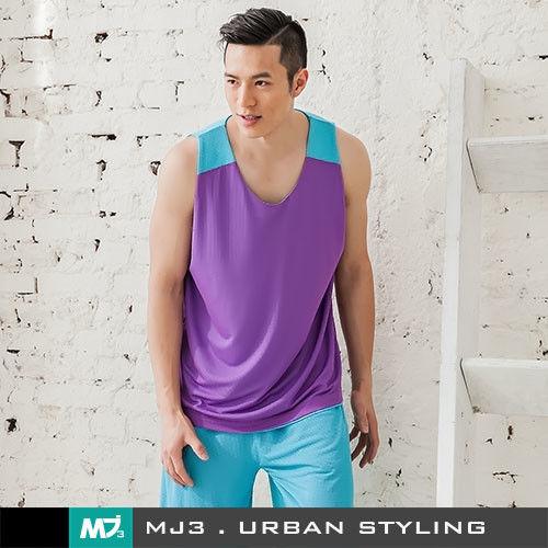 【MJ3】方格網布雙面穿吸排籃球背心-男(紫/淺藍)