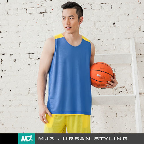 【MJ3】方格網布雙面穿吸排籃球背心-男(海藍/黃)