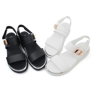 【 cher美鞋】太空金屬感一字厚底涼鞋♥白色/黑色♥6612-03