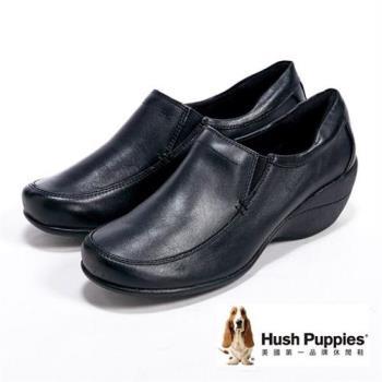 Hush Puppies厚底簡約直套式女鞋-黑