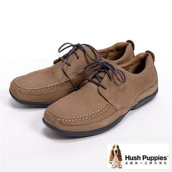 Hush Puppies 簡約率性綁帶休閒鞋-褐(另有咖)