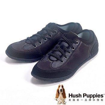 Hush Puppies 綁帶素面戶外休閒鞋女鞋-黑