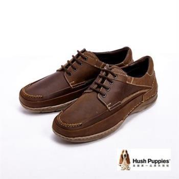Hush Puppies Bounce彈力雙鞋墊綁帶式男鞋-咖(另有黑)