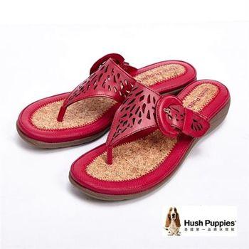 Hush Puppies 簍空雕花彈力舒適民俗風拖鞋女鞋-紅(另有深咖)