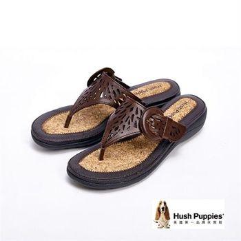 Hush Puppies 簍空雕花彈力舒適民俗風拖鞋女鞋-深咖(另有紅)