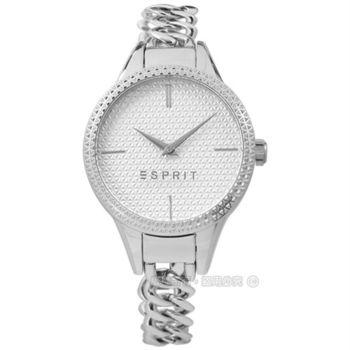 ESPRIT / ES109052001 / 名媛典雅細緻格菱紋手鍊式不鏽鋼手錶 銀色 32mm