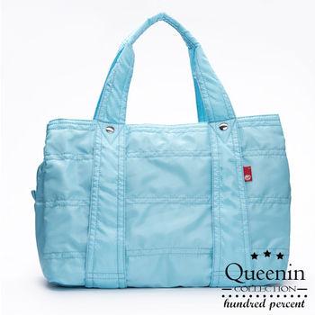 DF Queenin日韓 - 日本熱銷款百搭光感尼龍大空間手提肩背旅行包