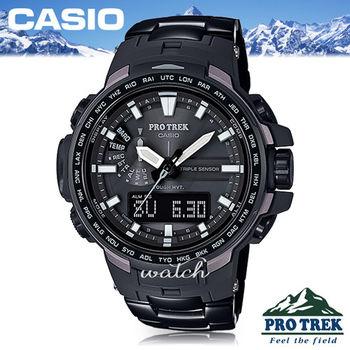 【CASIO 卡西歐 登山錶 系列】推薦款_專業登山太陽能_鈦金屬錶(PRW-6100YT)