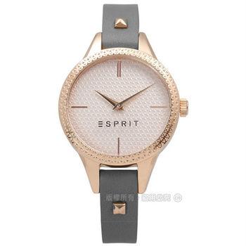 ESPRIT / ES109052005 / 名媛典雅細緻格菱紋真皮手錶 鍍玫瑰金x灰 32mm