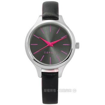 ESPRIT / ES906592003 / 小巧復古女伶真皮手錶 鐵灰x黑 30mm