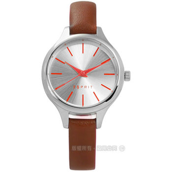 ESPRIT / ES906592001 / 小巧復古女伶真皮手錶 銀x褐 30mm