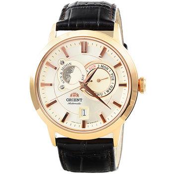 ORIENT 東方錶動力儲存藍寶石機械皮帶錶-玫瑰金 / FET0P001W (原廠公司貨)