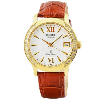 ORIENT 東方錶晶鑽藍寶石機械皮帶女錶-金 / FER2E003W (原廠公司貨)