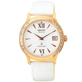 ORIENT 東方錶晶鑽藍寶石機械皮帶女錶-玫瑰金 / FER2E002W (原廠公司貨)
