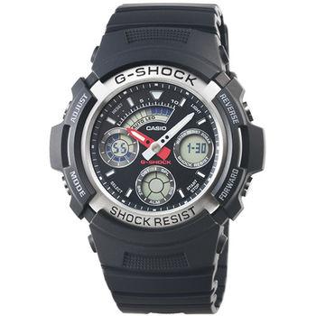 CASIO 卡西歐G-SHOCK 雙顯鬧鈴電子錶-黑 / AW-590-1A