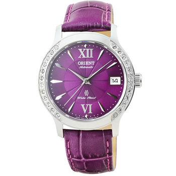 ORIENT 東方錶晶鑽藍寶石機械皮帶女錶-紫 / FER2E005V (原廠公司貨)