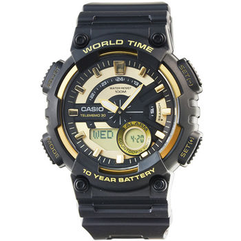 CASIO 卡西歐雙顯多時區電子膠帶錶-黑 / AEQ-110BW-9A (台灣公司貨)