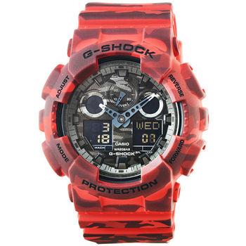 CASIO 卡西歐G-SHOCK 雙顯鬧鈴電子錶-紅 / GA-100CM-4A